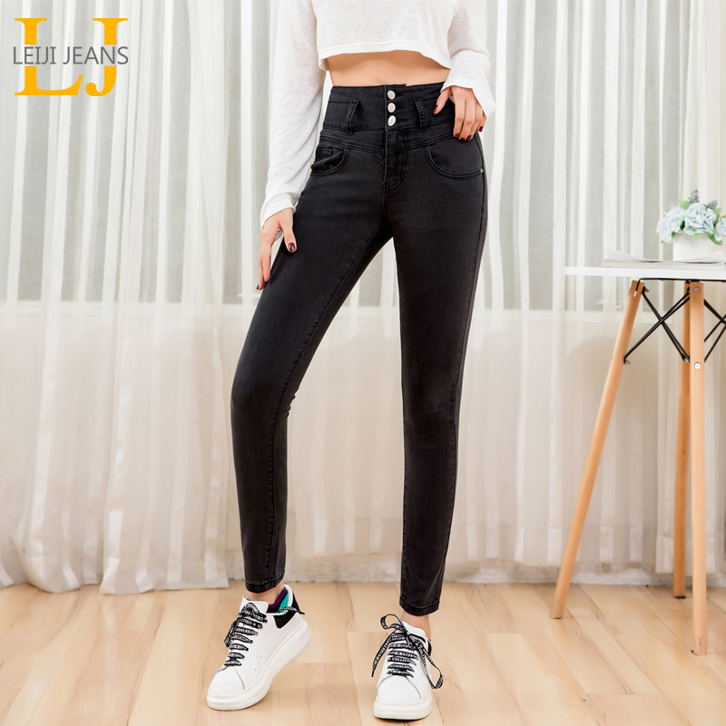 LEIJIJEANS 2019 Oversize Stretchy High Waist Casual Comfort Feet Long Ladies Jeans Plus Size Black Gray Skinny Women Jeans 9202