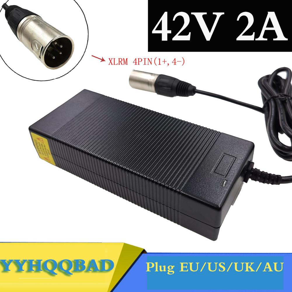 36V Charger 42V 2A electric bike lithium battery charger for 36V lithium battery pack with 4-Pin XLR Socket connector