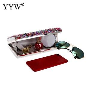 Image 5 - Pochette multicolore avec strass cristal, sac de mariage, sac à main de fête de bal nuptial, sac à main dashon pour Cocktail, pochette, 2019