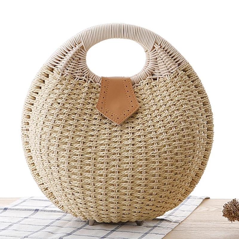 Beach straw Bag for Women 2021 Summer Shell Woven Beaded Straw Bag Female Bohemia Knitted Large Tote Handbag