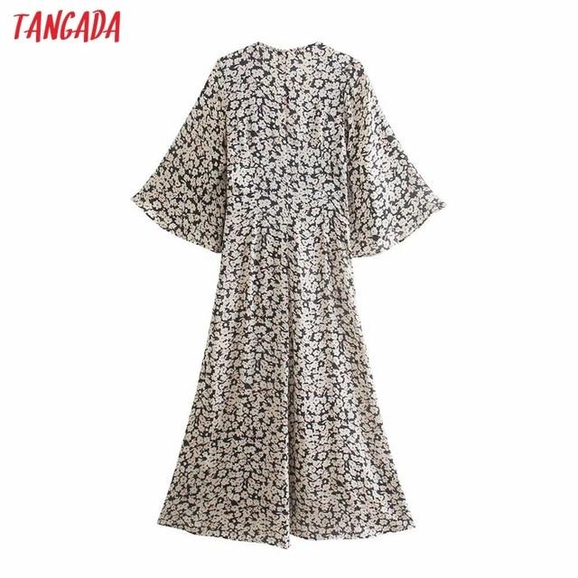 Tangada 2021 Women Flowers Print French Style Long Dress Flare Sleeve Ladies Dress 3H131 6