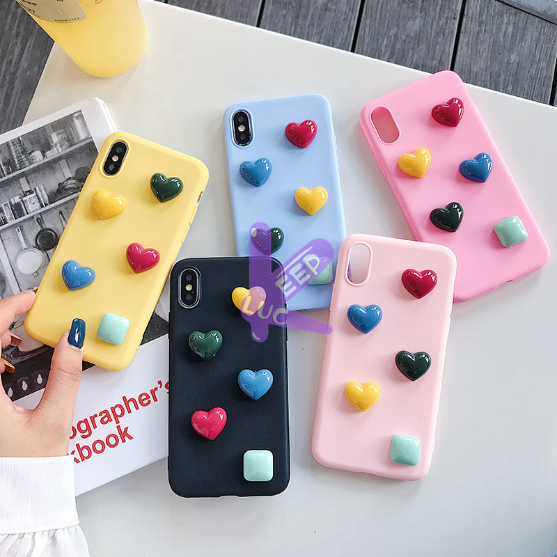 Simple Candy Multicolor Heart <font><b>Case</b></font> For <font><b>Samsung</b></font> Galaxy <font><b>A10</b></font> A20 A30 A40 A40S A50 A50S A70 A80 M10 M20 M30 M30S <font><b>Cute</b></font> Cartoon Cover image
