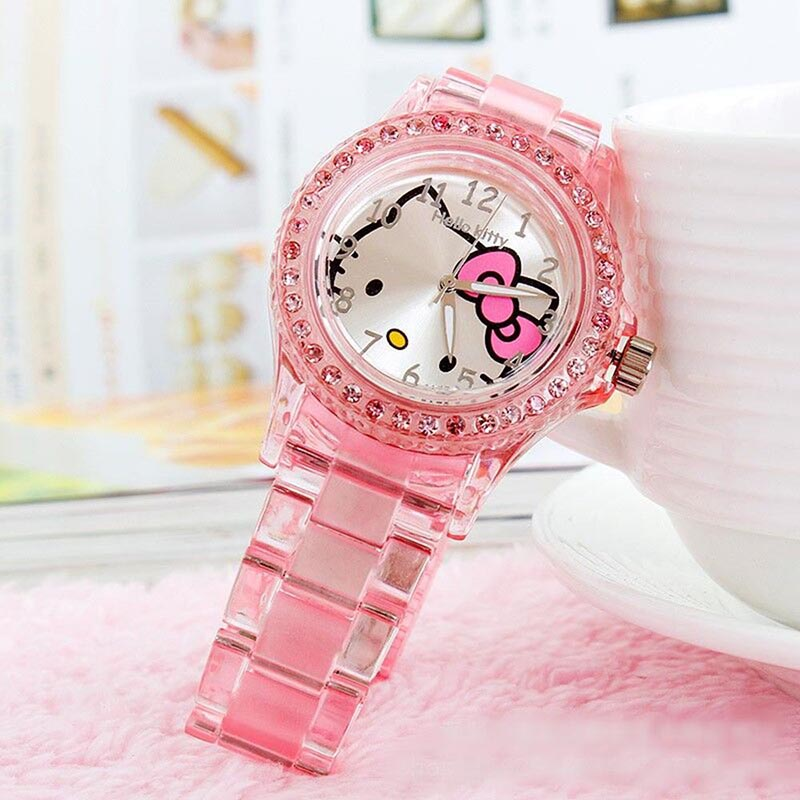 Hello Kitty Watch Children Rhinestone Watch Hodinky Kids Transparent Watch Ladies Girls Saats Gifts Clock Dropshippping Relogio