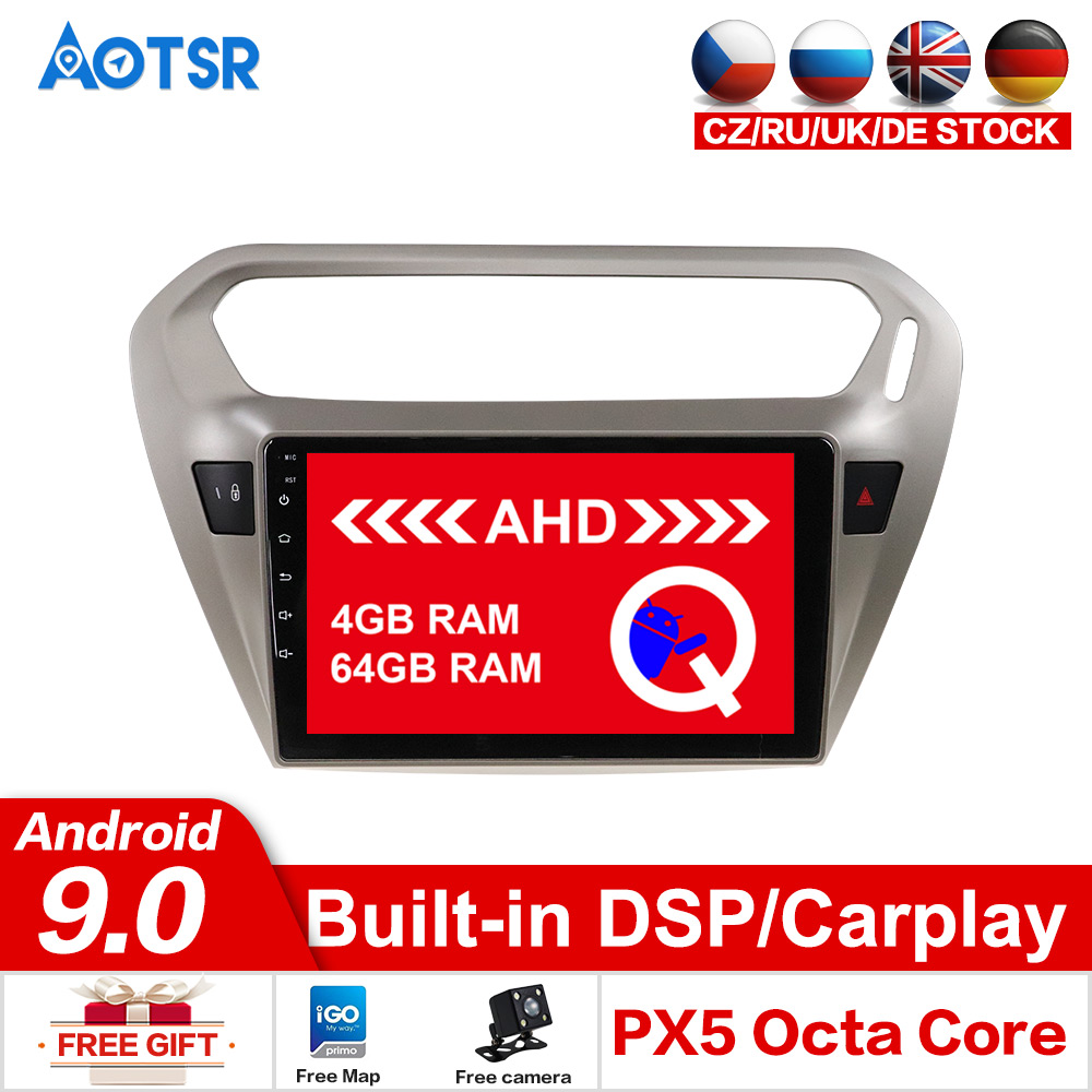 AOTSR Android 9.0 64GB Car DVD Player <font><b>GPS</b></font> Navigation <font><b>For</b></font> <font><b>Peugeot</b></font> <font><b>301</b></font> 2008-2014 1 din radio Tracker Multimedia head unit Stereo image