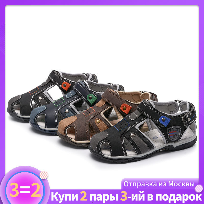 MMnun 3=2 Sandals For Boy Orthopedic Kids Shoes Children Boys Sandals Flat Shoes Closed Toe Kids Sandals 2019 Size 22-32 ML2623