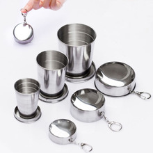 Portable Stainless Steel Folding Cup with Keychain Retractable Telescopic Collapsible Cup for Outdoor Travel Camping Drinkware germany aaron flow cup viscometer stainless steel zahn 4 for printing