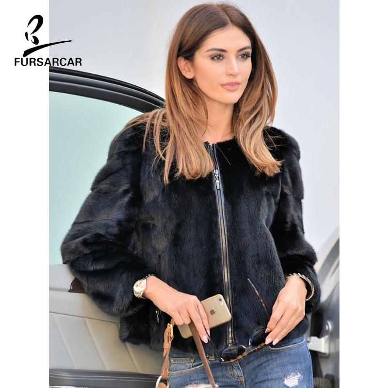 FURSARCAR Real Black Women Mink Fur Jacket For 2019 Winter Natural Full Pelt Fur Jacket And Coats Female Autumn Spring Clothes