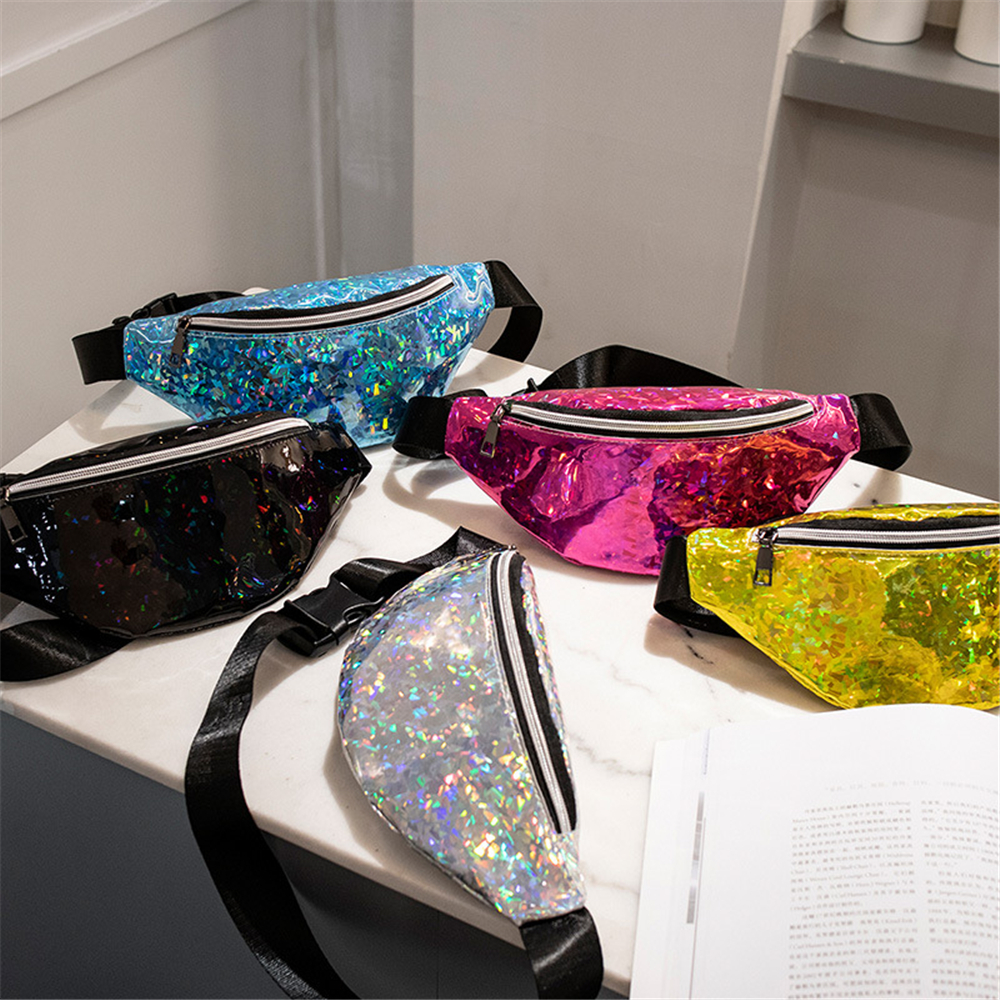 Fashion Waist Bag Female 2020 Spring New Wave Korean Version Of The Wild Laser Bright Multifunctional Chest Bag Messenger Bag