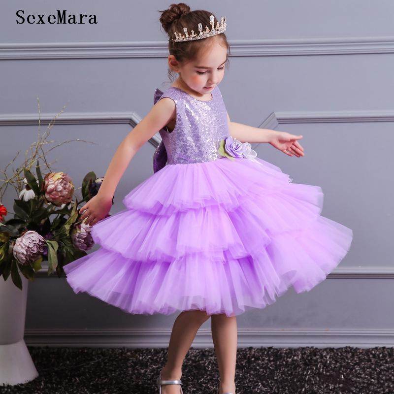 Lavender Layered Tulle Kids Gown Knee Length Sequins Little   Girls   Pageant Gown   Flower     Girl     Dress   for Wedding Kids Formal Wear