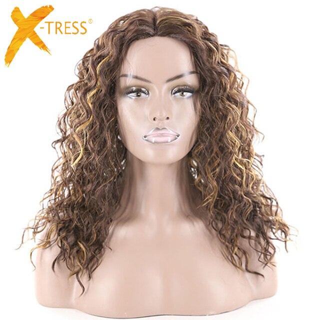 変態カーリーレース部分人工毛かつら中部混合茶色黒色ミディアム丈かつら X TRESS のための女性