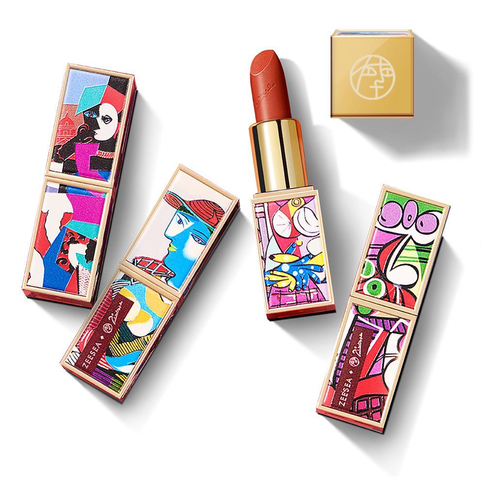 Zeesea Neue Picasso Sammlungen Matt Langlebig Wasserdicht Samt Nicht-stick Tassen Natürliche Nude Lip Stick Glasur Make-Up kosmetische
