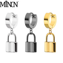 MINCN Stainless Steel mens earrings Lock Pendant  Gold earring punk titanium steel Send a beloved girl adjustable