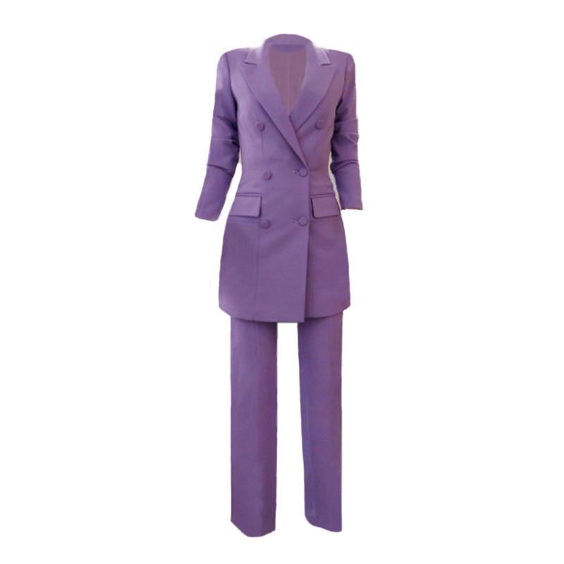 Mulheres OL Moda Roxo Mulheres Pant Terno Double Breasted Casaco Longo Blazer e Calça Reta Trabalho Negócio Senhoras 2 Peças conjunto - 6