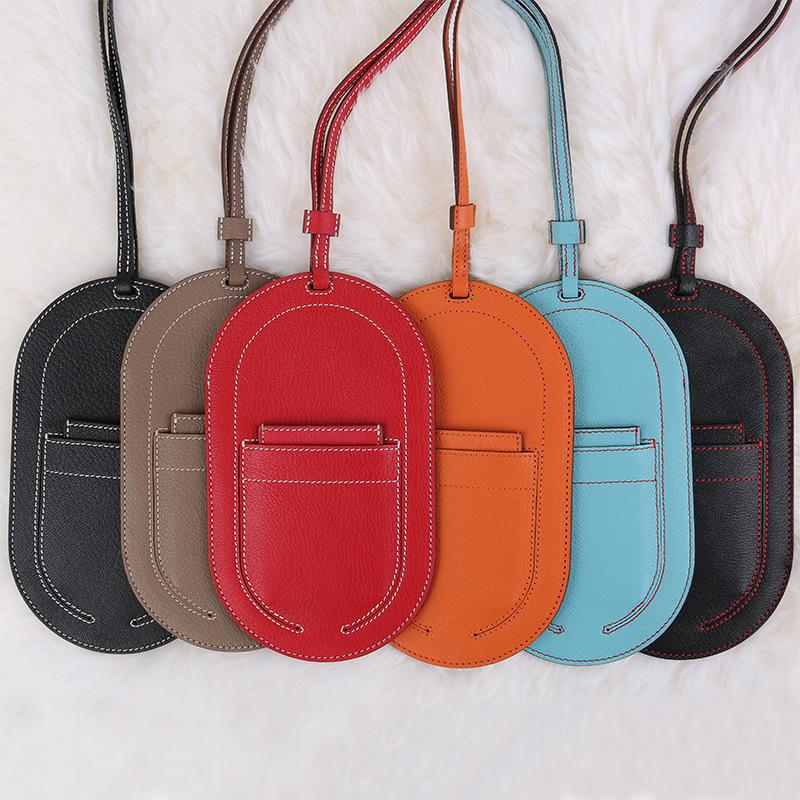 Vintage Mini Bag 2021 New Women Single Shoulder Real Goat Skin Card Bag Solid Color Handmade Sewing Mobile Phone Cover Bag