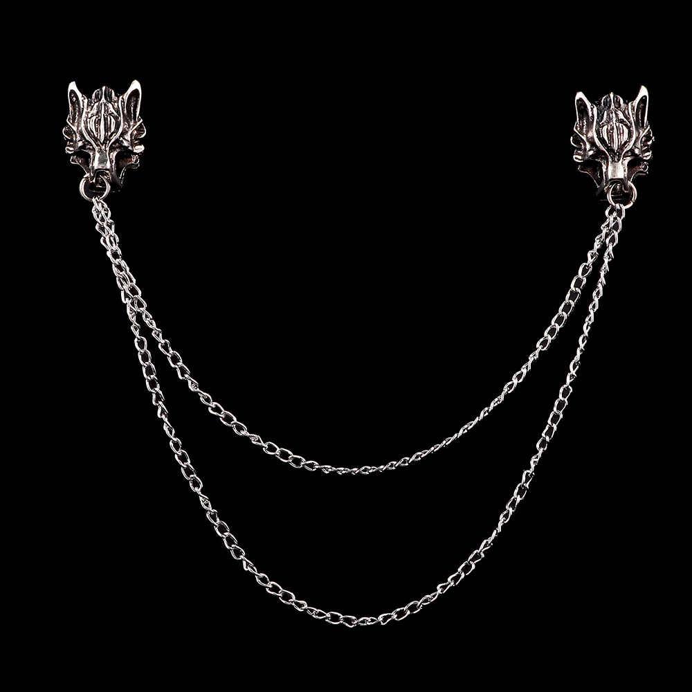 Vintage Serigala Kepala Bros Mahkota Elk Merak Masker Rumbai Bros Kepribadian Malaikat Sayap Sayap Pin Fashion Perhiasan Kemeja Kerah Pin