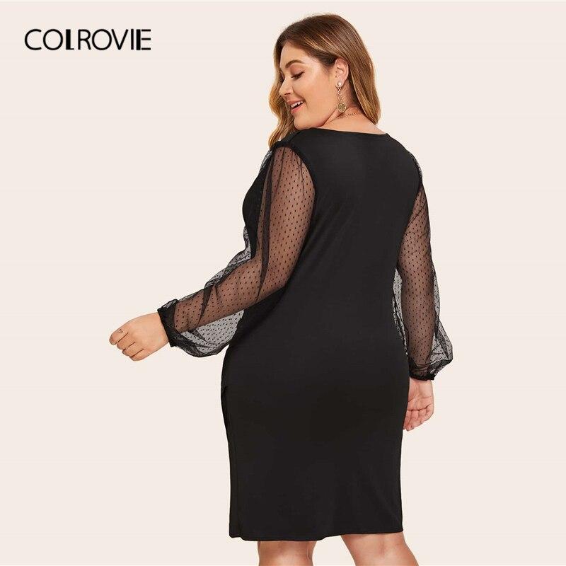 COLROVIE Plus Size Surplice Contrast Mesh Bishop Sleeve Dress Women Black Sexy Mini Dress 2020 V neck Solid Glamorous Dresses 1