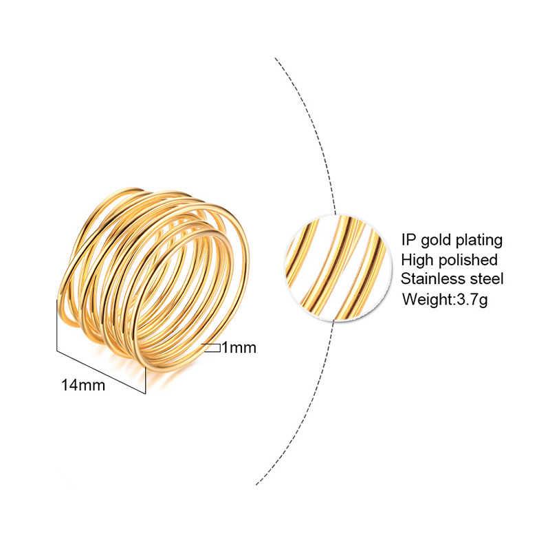 Infinito envoltório enrolado primavera anel de ouro tom espiral aberto grande anel clube feminino jóias