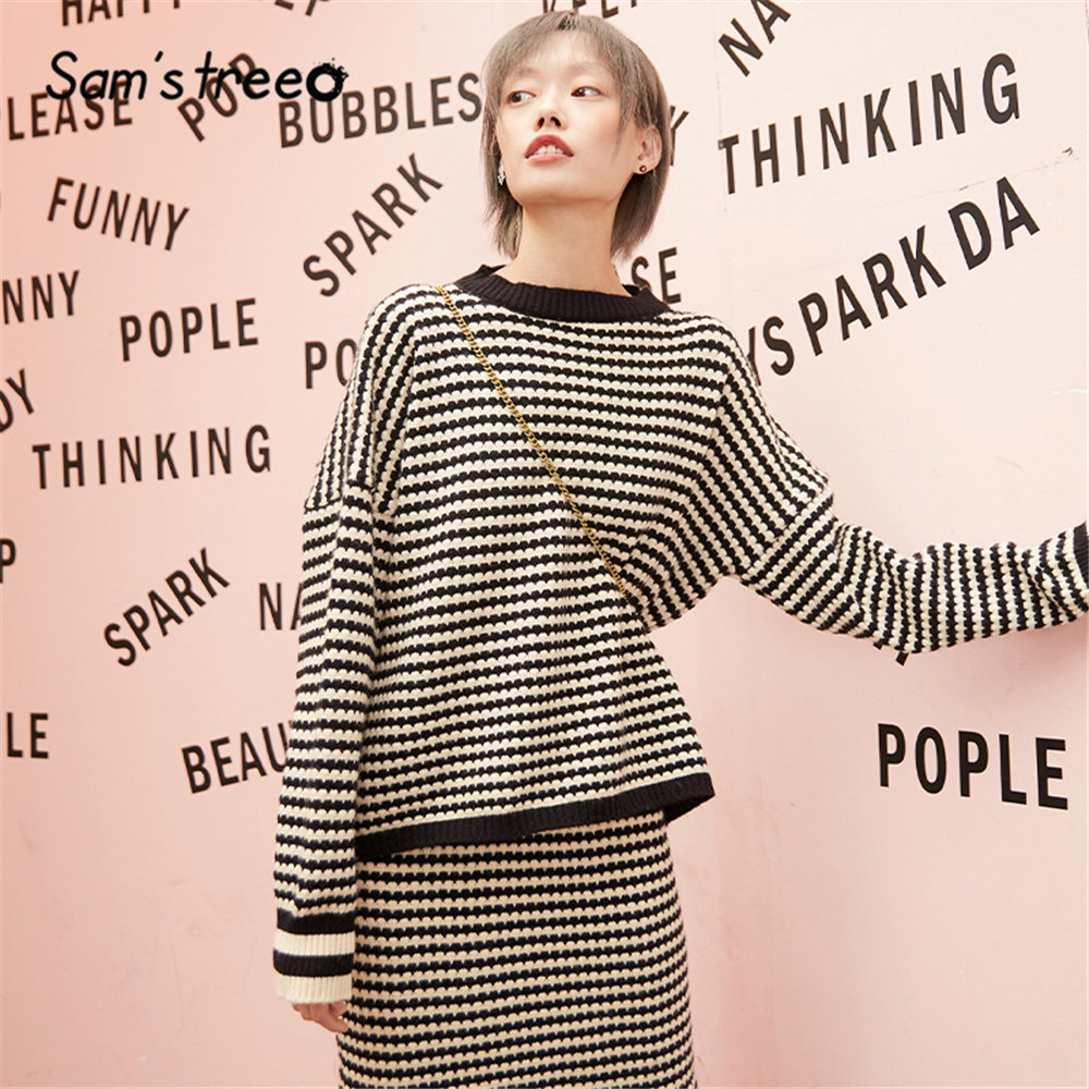 SAM'S TREE Multicolor Striped Casual Knit Two Pieces Sets Women 2020 Spring Long Sleeve Korean Style Office Ladies Matching Sets