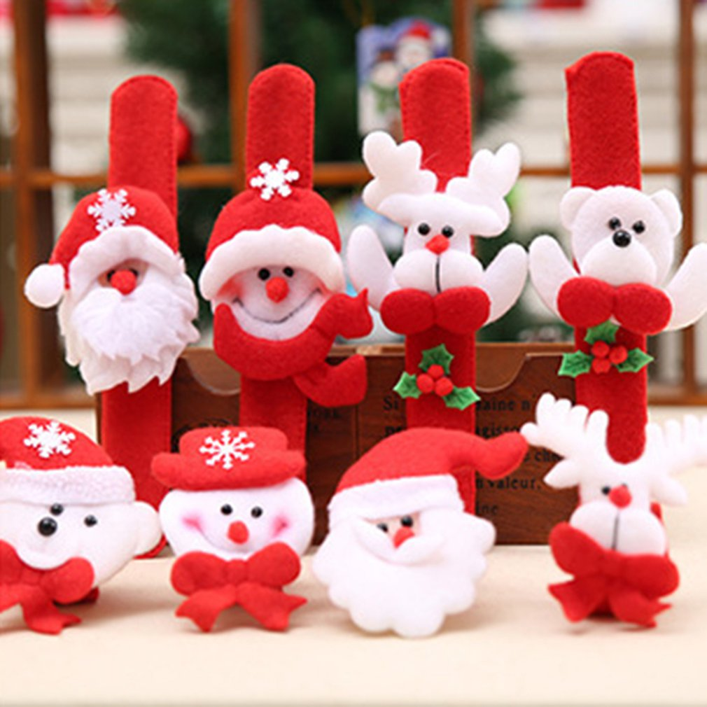 Christmas Patting Circle Bracelet Watch Xmas Children Gift Santa Claus Snowman Deer New Year Party Toy Wrist Decoration