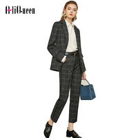 Work Pant Suits OL 2 Piece Sets Double Breasted Plaid Blazer Jacket Zipper Trousers Suit for Women Set Feminino Spring