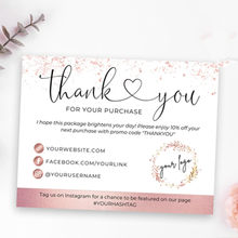 Rose Gold Thank You Cards Business,Business Thank You Cards,Custom Text Social Medial Card,Personalize Logo Business Name Card(China)