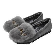 2020 autunno e inverno nuovi veri peli di coniglio testa tonda tacco piatto caldo abbigliamento casual scarpe di fagioli caldi scarpe basse