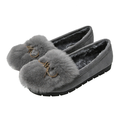 2020 autumn and winter new real rabbit hair round head flat heel warm casual wear warm bean shoes flat shoes