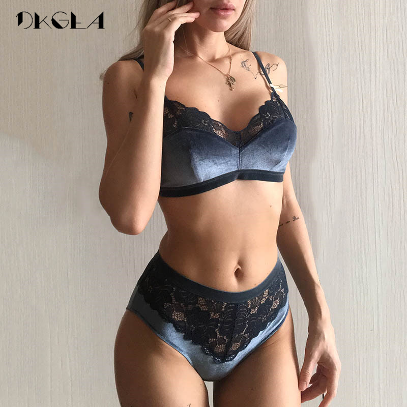 2020 New Velvet Bras Lace Lingerie Set Blue Thin Cotton Brassiere Women Underwear Set Wire Free Embroidery Sexy Bra Panties Sets 1
