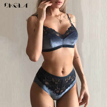 2019 New Velvet Bras Lace Lingerie Set Blue Thin Cotton Brassiere Women Underwear Set Wire Free Embroidery Sexy Bra Panties Sets - DISCOUNT ITEM  50% OFF All Category