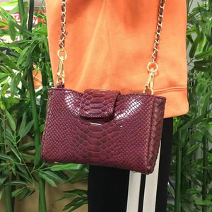 Image 5 - Fashion Women Python Pattern Leather Handbag Embossed Python Leather Shoulder Bag Summer Party Trendy Purse Bag
