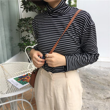 Autumn Women Shirt High Neck Korean Style T-shirt Harajuku Top Long Sleeve Striped T-shirt Female Casual Tops Plus Size