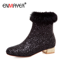 ENMAYER Sequined Cloth Square Heel Women Shoes Zip Ankle Round Toe Velvet Winter Fashion Microfiber Solid Bling Black Boots Gold
