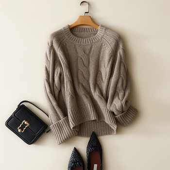 100% Cashmere Thick  Women Sweater and Pullovers 2020 Autumn Winter Vintage Solid Warm Tops for Fall