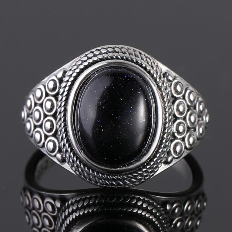 Punk Oval Blue Sanstone Rings For Women 925 Silver Gemstone Sandstone Jewelry For Women Party Birthday Gift Daily