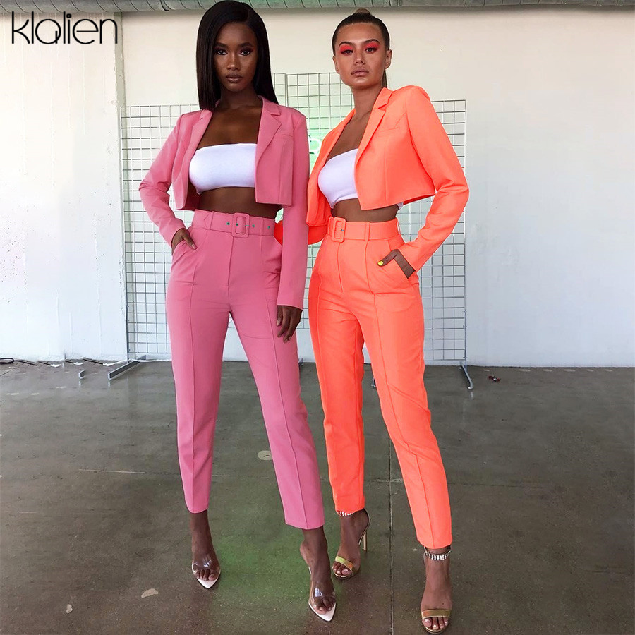 KLALIEN Neon Color Thin Coat Cardigan + Suit Trousers 2019 Autumn Winter Office Ladies Street Casual 2 Pieces Suits Womens