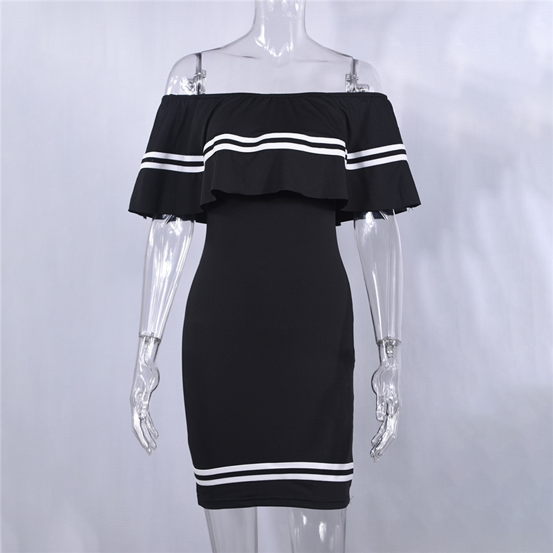 H1ffaac3eab984ceb974f4b61e3021f1aE - Off Shoulder Slash Neck Sexy Autumn Party Dress Striped Ruffles Short Sleeve Summer Dress Women Plus Size Casual Beach Vestidos