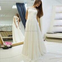 Une ligne dos ouvert dentelle robes de mariée avec Appliques manches courtes longueur de plancher en mousseline de soie robes de mariée Robe de Mariee bohème