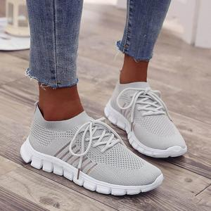 Image 4 - Women Casual Shoes Air Mesh Shoes Solid Shallow Sneakers Slip On Platfrom Shoes Lace up Stretch Fabric Shoes WJ010