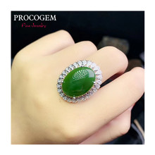 Procogem Fancy Natural Green Jade big Ring for Women Party Gifts 13x18mm Genuine gemstones Fine jewelry 925 Sterling Silver #735(China)