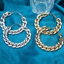 Женские серьги кольца flatfoosie золотистые и серебристые большого