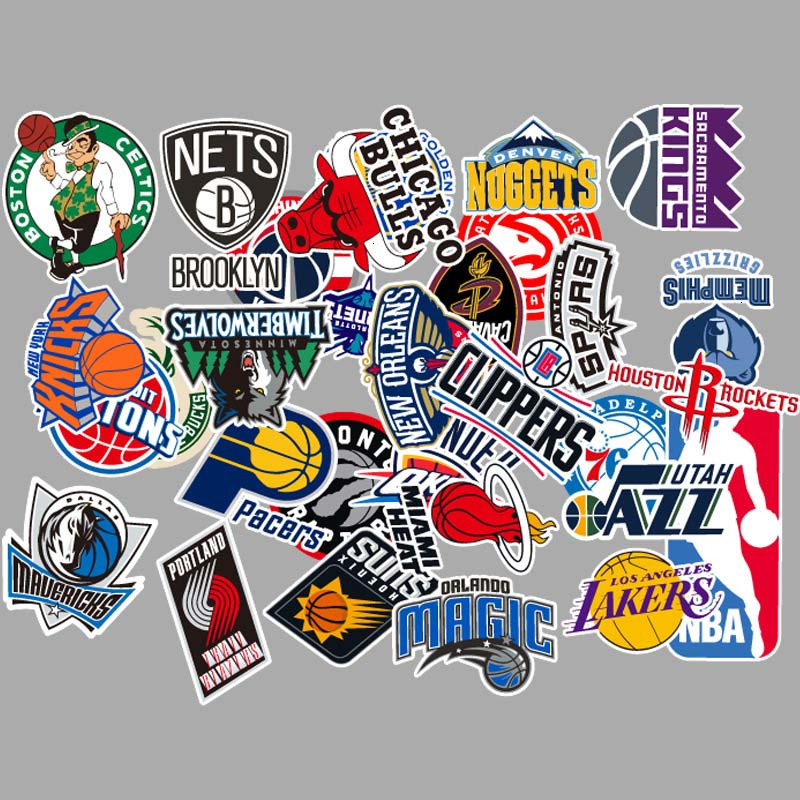 31PCS Basketball Team Logo Style Car Stickers And Decals For Laptop Motorcycle Skateboard Graffiti Sticker
