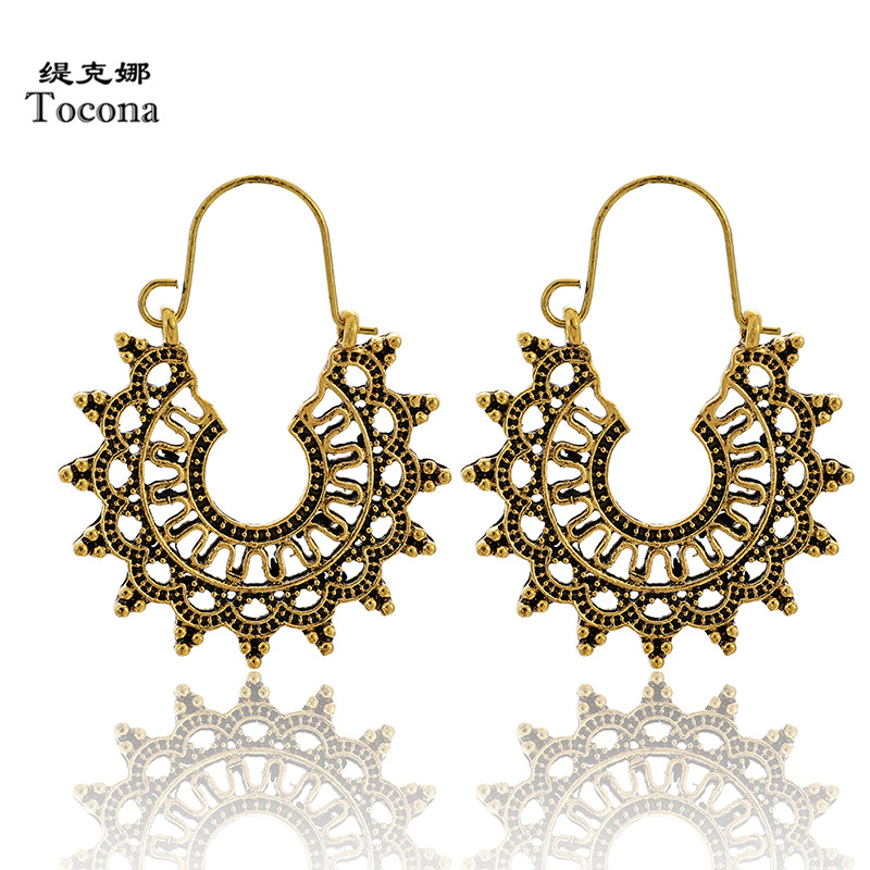 Tocona Vintage Gold Silver Color Drop Earrings For Women Classic Ethinic Carve Hollow Geometric India Jewelry Wholesale 9024
