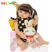 55 cm Silicone Full Body Reborn Baby Doll Toys Like Real Alive Babies Doll With Long Hair Girl Brinquedos Play House Bathe Toy