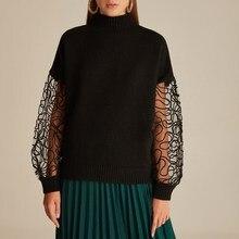 Lace Kordine Embroideried Half Turtleneck Knitwear Sweater