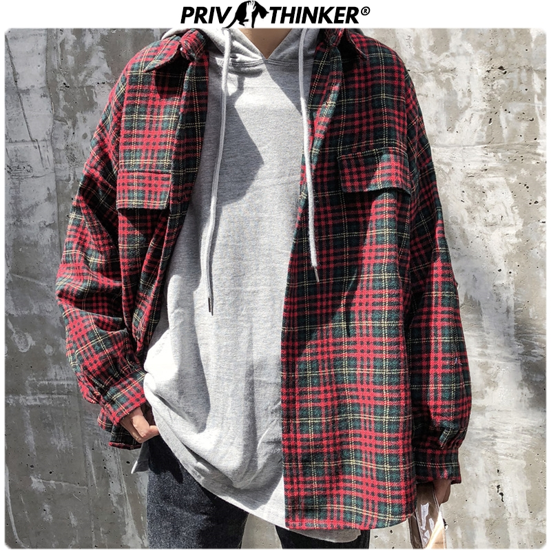 Privathinker Men's 2019 Plaid Thick Warm Long-sleeved Shirt Men Winter Youth Shirt Coat Male Streetwear Oversize Autumn Tops