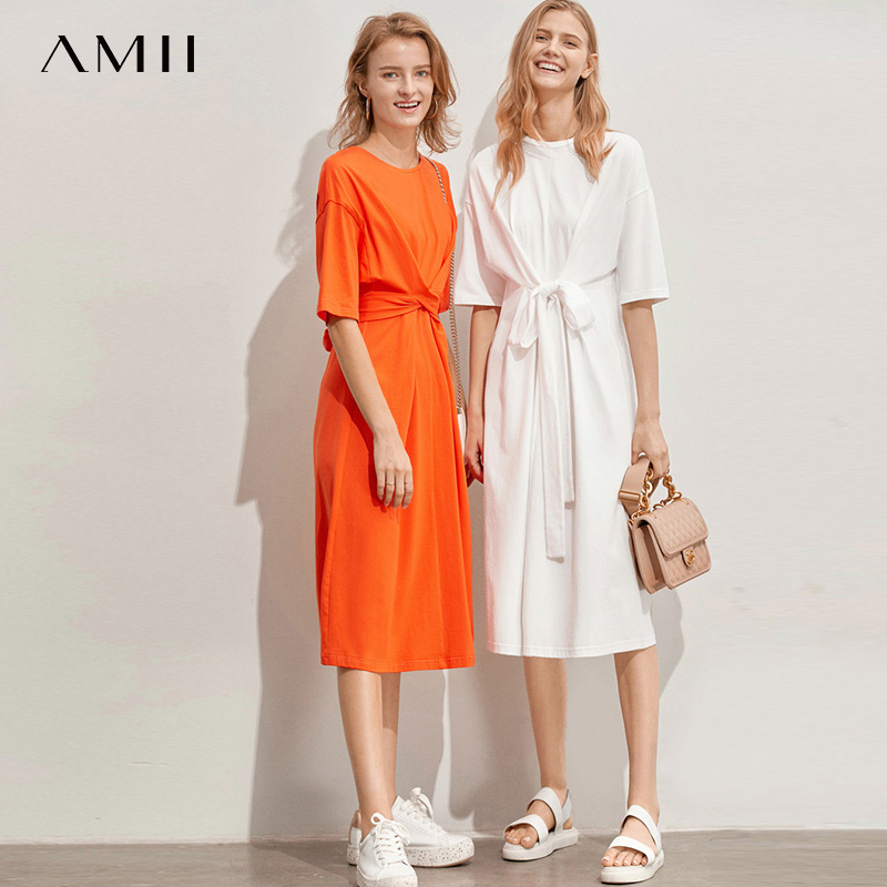 Amii Minimalist Women Dress Spring Summer Causal Solid Short Sleeve Belt Lace Up O Neck Cotton high waist Elegant Dress 11960107