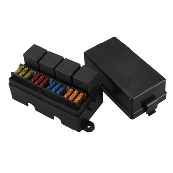 цена на 12 Way Blade Fuse Holder Box with Spade Terminals and Fuse 4PCS 4Pin 12V 40A Relays for Car Truck Trailer and Boat