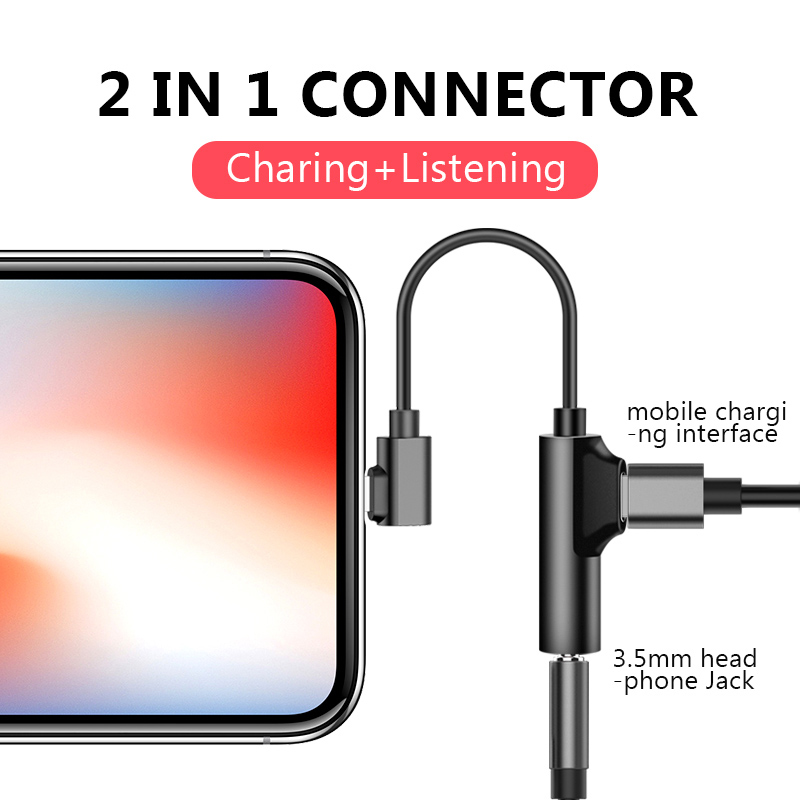 Audio Adapter Lightning To 3.5mm Charging Call For Iphone 6 6S X 8 7 Plus XS MAX XR Original Headphone AUX Splitter Connector