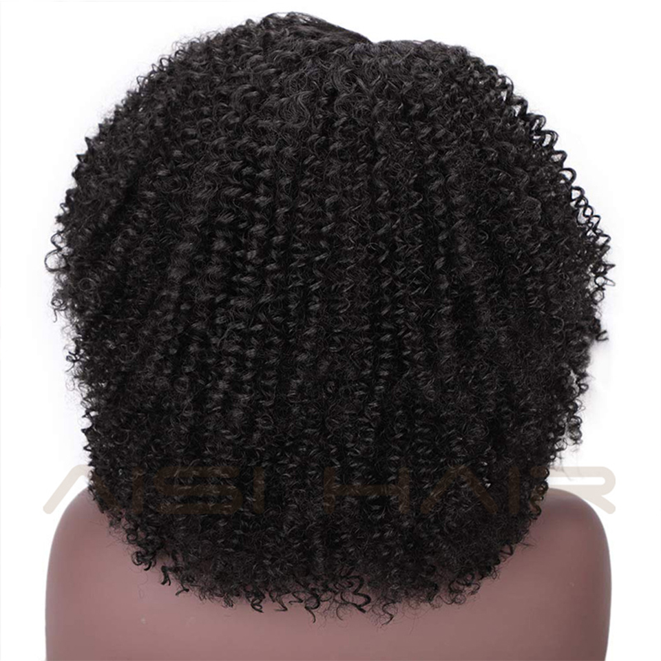 Image 5 - AISI HAIR Short Afro Kinky Curly Wig Synthetic Black Lace Front Wigs for Black Women Side Part Hair Heat Resistant Fiber Wigs-in Synthetic Lace Wigs from Hair Extensions & Wigs