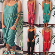 HOT Fashion Women Girl Loose Solid Jumpsuit Sling Harem Trousers Ladies Fine Str